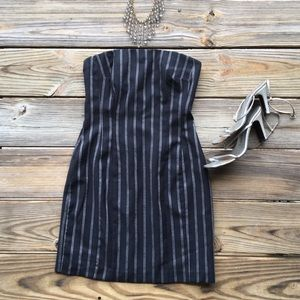 Italian designer sexy pinstripe wool navy dress
